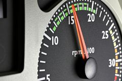 Tachometer. Of a truck at economic mode of operation Stock Photography