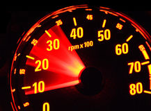 Tachometer at work. Revolutions in the control panel of the car Royalty Free Stock Photography