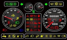 Tachometers en dashboardpictogrammen Royalty-vrije Stock Foto