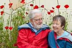 Tachtig éénjarigenpaar in regenjassen met papavers Royalty-vrije Stock Foto