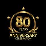 Tachtig jaar verjaardags gouden het ontwerp van het verjaardagsmalplaatje voor Web, spel, Creatieve affiche, boekje, pamflet, vli royalty-vrije illustratie