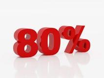 Tachtig percent van rode kleur Stock Foto