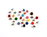 Tachuelas de pulgar de los contactos de gráfico en muchos colores Imagen de archivo libre de regalías