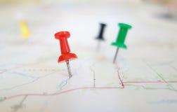 Tachuelas del mapa Imagen de archivo