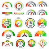 Tachymètre de score de crédit Marchandises évaluant l'indication, le bon indicateur de mesure et les indicateurs de niveau de tac illustration libre de droits