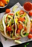 Taci con carne di pollo e le verdure Fotografia Stock Libera da Diritti
