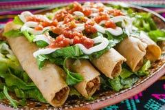 Taci di Flautas de pollo e messicano casalingo Messico City dell'alimento della salsa fotografia stock libera da diritti