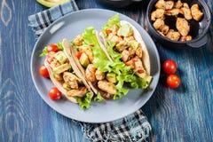 Taci messicani autentici con il pollo e salsa con l'avocado, i pomodori ed i peperoncini rossi Fotografia Stock Libera da Diritti