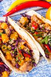 Taci messicani della carne di maiale con le verdure e la zucca Taci su di legno Fotografia Stock Libera da Diritti