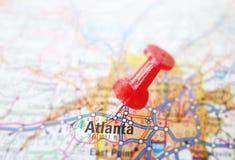 Tack in Atlanta map. Red tack in a map of Atlanta Georgia royalty free stock photography