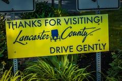 Tack för att besöka det Lancaster County tecknet Royaltyfria Foton