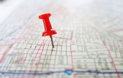 Tack map Stock Image