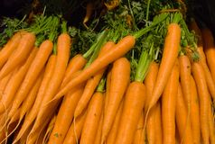 Tack of orange carrots in the supermarket stock photo