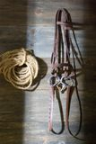 Tack room. A horse tack room with the door open royalty free stock photo