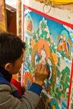 Tack som målar, Norbulingka Institute av tibetana konster, Dharamsh royaltyfri bild