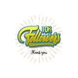Tacka dig affischen för 10000 anhängare Du kan använda social nätverkande Rengöringsdukanvändaren firar ett stort antal abonnente Arkivbild