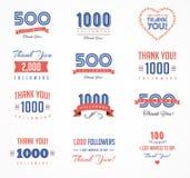 Tacka dig anhängare, emblem, klistermärkear och etiketter royaltyfri illustrationer