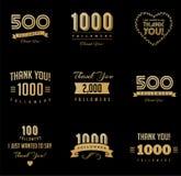 Tacka dig anhängare, emblem, klistermärkear och etiketter arkivbild