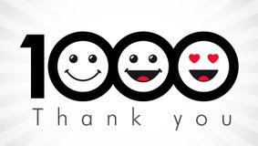 Tacka dig 1000 anhängarenummer royaltyfri illustrationer