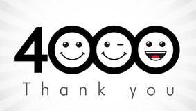 Tacka dig 4000 anhängarenummer royaltyfri illustrationer