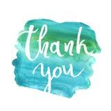 Tacka dig att card, att ink handbokstäver Abstrakt markörform Royaltyfria Bilder