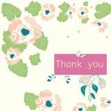 Tacka dig att card med blommor Royaltyfri Bild