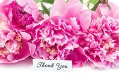 Tacka dig att card med buketten av rosa pioner royaltyfri foto