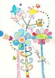 Tacka dig att card med färgrika blom stock illustrationer