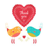 Tacka dig att card med fåglar Royaltyfri Foto