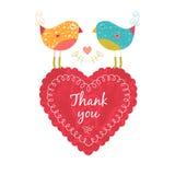 Tacka dig att card med fåglar Royaltyfri Fotografi