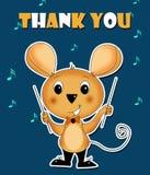 Tacka dig att card musen som för musik royaltyfri illustrationer