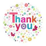 Tacka dig att cirkla hälsningkortet med färgrika blommor Royaltyfri Bild