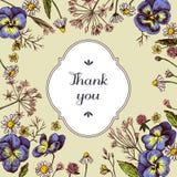 Tacka dig att förse med märke över heartseases och kamomillar på en gul bakgrund Hand tecknad vektorillustration stock illustrationer
