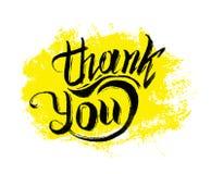 Tacka dig att ink handen dragen bokstäver Royaltyfri Foto