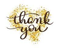Tacka dig att smsa på guld- bakgrund i form av hjärta För kalligrafibokstäver för tappning hand dragen illustration EPS10 för vek royaltyfri illustrationer