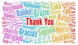 Tacka dig att uttrycka molnet i olika språk stock illustrationer