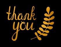Tacka dig den guld- inskriften Royaltyfria Foton