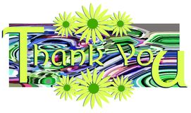 Tacka dig det isolerade banret med blom- fantasi royaltyfri illustrationer