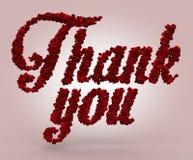Tacka dig gjorde av röda rosor Fotografering för Bildbyråer