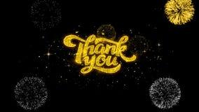 Tacka dig guld- blinkapartiklar för text med guld- fyrverkeri lager videofilmer