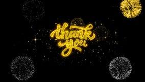 Tacka dig guld- blinkapartiklar för text med guld- fyrverkeri royaltyfri illustrationer