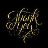 Tacka dig guld- kalligrafi vektor illustrationer