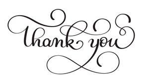 Tacka dig handskriven kalligrafivektortext mörk illustration för borstepennbokstäver som isoleras på vit bakgrund stock illustrationer