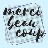 Tacka dig i franskt Märka hälsa den retro kortinbjudan vektor illustrationer