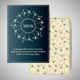 Tacka dig kortdesignen med gulliga fåglar Arkivfoto