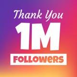 Tacka dig 1 miljon anhängarerengöringsdukbaner royaltyfri illustrationer
