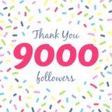 Tacka dig nätverksstolpen för 9000 anhängare stock illustrationer