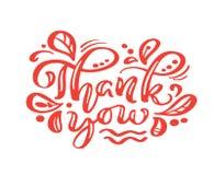 Tacka dig röd text för kalligrafibokstävervektorn För sida för lista för konstmalldesign modellbroschyrstil, baneridéräkning, bok vektor illustrationer