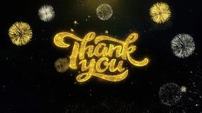 Tacka dig skriftliga guld- partiklar som exploderar fyrverkeri arkivfilmer