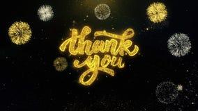 Tacka dig skriftliga guld- partiklar som exploderar fyrverkeri stock video